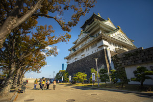 osaka japan - november7,2018 : group of tourist attraction to osaka castle one of most popular traveling destination in osaka japan