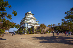 osaka japan - november7,2018 : large number of tourist attraction to osaka castle one of most popular traveling destination in osaka japan