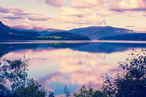 Panoramic view at fjord at sunset, Norway