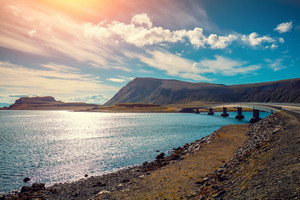 Panoramic view at fjord with bridge. Beautiful nature Norway. Arctic bay. Mageroya island. The way to Nordkapp