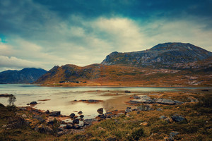 Panoramic view of the fjord in evening. Beautiful wild nature Norway. Lofoten islands