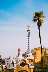 Park Guel, Barcelona, Spain. Famous example of unique mosaic architecture Building. Tourist most visiting location