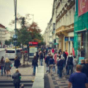 People in city vintage blur background