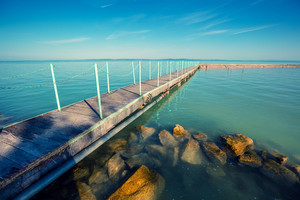 Pier on the lake Balaton in the morning, Hungary