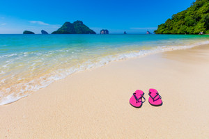 Pink Flip Flops On Shore At Aonang Beach