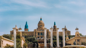 Placa De Espanya, the National Museum in Barcelona. Panorama view. Spain