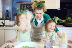 Playful kids having fun with the flour