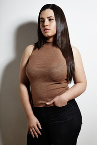 plus size woman with a straight hair