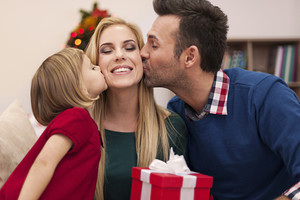 Portrait of affectionate family in christmas time