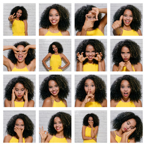 Portrait of African American woman against white wall as background. Collage of different expressions.