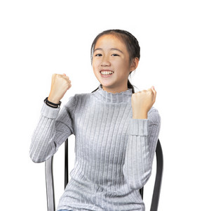 portrait of asian teenager joyful happiness emotion ,successful  acting isolate white background