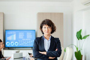 Portrait of business woman at her business office. Great Leader.