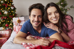 Portrait of couple in love during the Christmas