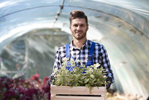 Portrait of gardener holding wooden crate with seedling