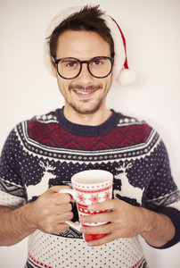 Portrait of handsome man in Christmas time