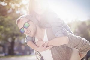 Portrait of happy lovely couple