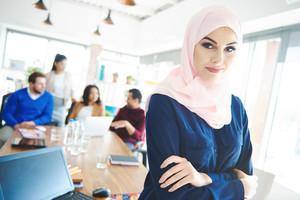 Portrait of muslim business woman wearing hijab