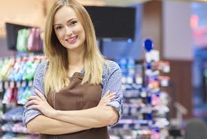 Portrait of sales clerk at supermarket