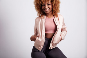 pretty smiling young black woman with blonde hair