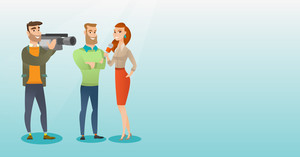 Professional caucasian reporter with a microphone presenting news. Operator filming an interview. Journalist making an interview with a businessman. Vector flat design illustration. Horizontal layout.