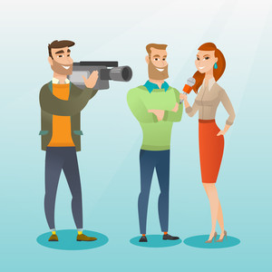 Professional caucasian reporter with a microphone presenting news. Operator filming an interview. Journalist making an interview with a businessman. Vector flat design illustration. Square layout.