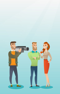 Professional caucasian reporter with a microphone presenting news. Operator filming an interview. Journalist making an interview with a businessman. Vector flat design illustration. Vertical layout.