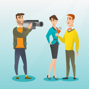 Professional caucasian reporter with a microphone presenting news. Operator filming an interview. Journalist making an interview with a businesswoman. Vector flat design illustration. Square layout.