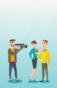 Professional caucasian reporter with a microphone presenting news. Operator filming an interview. Journalist making an interview with a businesswoman. Vector flat design illustration. Vertical layout.