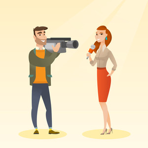 Professional caucasian reporter with a microphone presenting news. Young operator with camera filming a reporter. Reporter and operator recording news. Vector flat design illustration. Square layout.