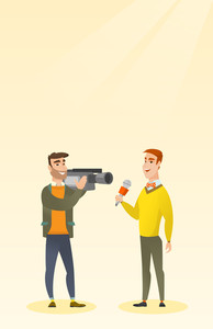 Professional caucasian reporter with a microphone presenting news. Young operator with camera filming a reporter. Reporter and operator recording news. Vector flat design illustration. Vertical layout