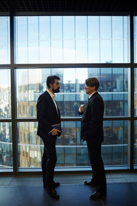 Profile view of two serious business partners standing against panoramic window while having informal meeting in office lobby, full length portrait