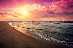 Purple sunrise over the sea