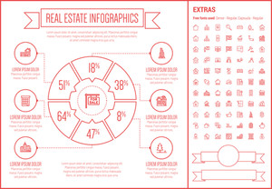 Real Estate infographic template and elements. The template includes the following set of icons - Real estate agent, seminar, training, investment, for sale placard and more. Modern minimalistic flat thin line vector design.