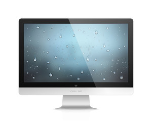 Realistic vector illustration of computer monitor with water drops wallpaper on screen isolated on white background