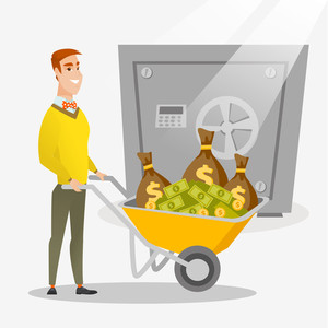 Rich businessman depositing his money in bank in the safe. Young cheerful businessman pushing wheelbarrow full of money on the background of big safe. Vector flat design illustration. Square layout.