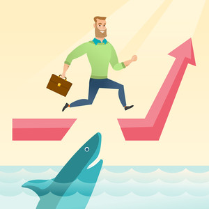 Risky businessman running on growth graph and jumping over gap. Businessman jumping over ocean with shark. Business growth and business risks concept. Vector flat design illustration. Square layout.