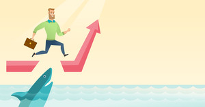 Risky businessman running on growth graph and jumping over gap. Businessman jumping over ocean with shark. Concept of business growth and risks. Vector flat design illustration. Horizontal layout.