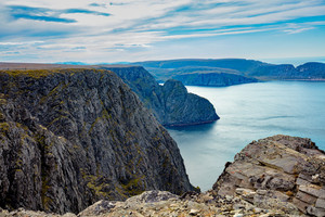 Rocky Barents sea cost. View from Nordkapp, Norway