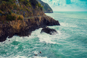 Rocky sea coast. Ligurian sea, Monterossa Village, Cinqe Terre, Italy