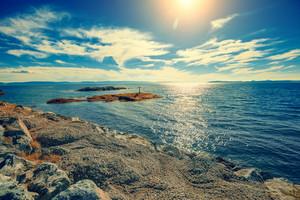 Rocky sea shore in northern Norway