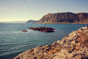 Rocky sea shore in northern Norway