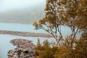 Rocky shore of the mountain lake
