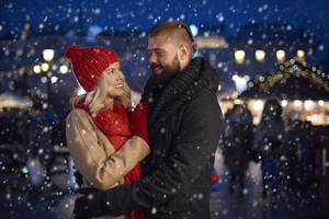 Romantic moment in the snow