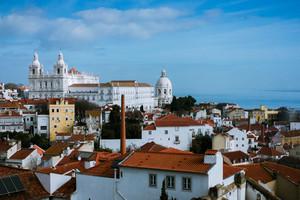 Roofs in the oldest district Alfama in Lisbon. Lisbon Lisboa Lissabon