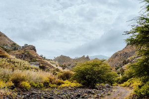 Rural landscape at cloudy weather Santo Antao Island, Cape Verde. Amazing mountains and dry riverbeds.