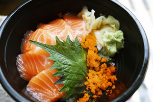 salmon raw fish  on rice japanese food style
