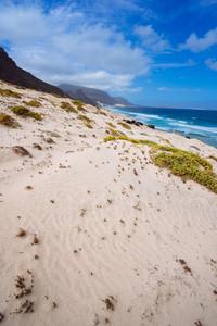 Sandy dunes with some desert plants in stunning desolate landscape of atlantic coastline. Baia Das Gatas, North of Calhau, Sao Vicente Island Cape Verde