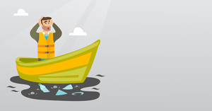 Sanitation worker floating in a boat and catching garbage out of water. Man clutching head while looking at polluted water. Water pollution concept. Vector flat design illustration. Horizontal layout.