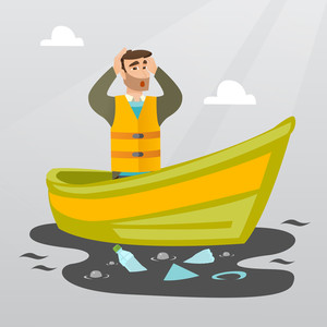 Sanitation worker floating in a boat and catching garbage out of water. Man clutching head while looking at polluted water. Water pollution concept. Vector flat design illustration. Square layout.