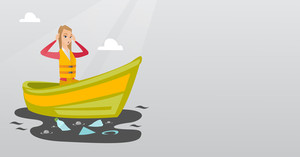 Sanitation worker working on boat to catch garbage out of water. Woman clutching head while looking at polluted water. Water pollution concept. Vector flat design illustration. Horizontal layout.